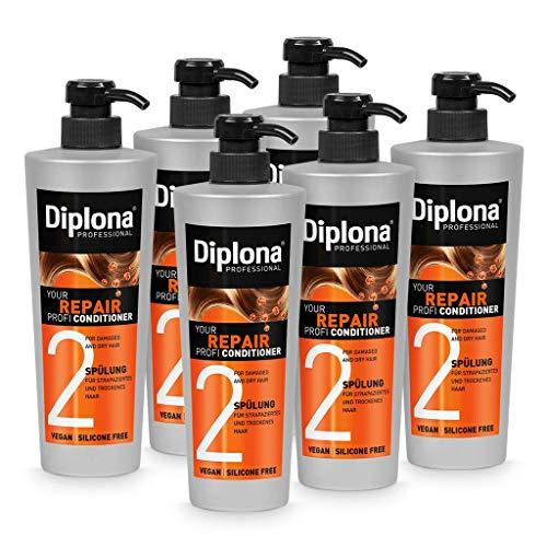 DIPLONA Acondicionador para cabello dañado y seco - Your Repair Profi Acondicionador para mujeres - Acondicionador vegano sin siliconas ni parabenos - Cuidado del cabello para mujer 6 x 600 ml