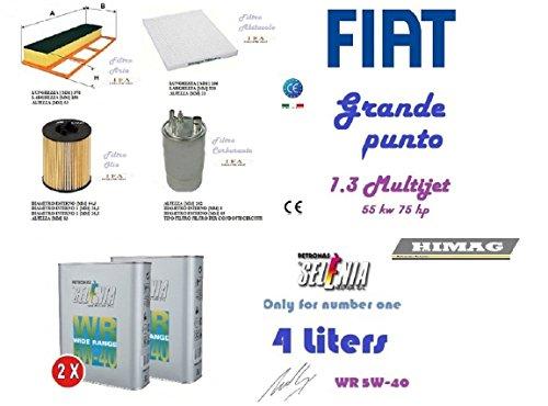 123/1 Kit filtri tagliando Grande Punto 1.3 Multijet 55 Kw + 4 Olio Selenia 5W40