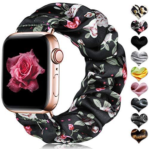 CeMiKa Scrunchie Elastisches Armband Kompatibel mit Apple Watch Armband 38mm 40mm 42mm 44mm, Armband aus Bedrucktem Stoff Kompatibel mit Apple Watch SE/iWatch Series 6 5 4 3 2 1, 38mm/40mm Blume