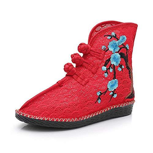 Haftowane buty dla kobiet Lato Wiosna Kobiety Koronki Tkaniny Krótkie Buty Oddychające Bawełniane Haftowane Botki Do Botki Dla Panie Płaskie Buty haftowane obcasy Lynlyn.