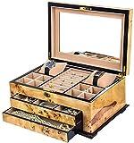 Scatola per gioielli per le donne, Scatola di gioielli in legno con serratura e trucco Specchio gioielli visualizzazione custodia custodia per gioielli Organizzatore multiuso Treasure Treasure Chest T