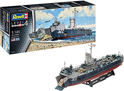 Revell- US Navy Landing Ship Medium (Bof Accesorios, Color Plateado (RV05169)