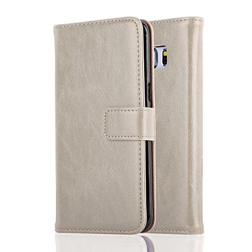 Cadorabo Funda Libro para Samsung Galaxy S6 Edge en MARRÓN Capuchino - Cubierta Proteccíon con Cierre Magnético, Tarjetero y Función de Suporte - Etui Case Cover Carcasa