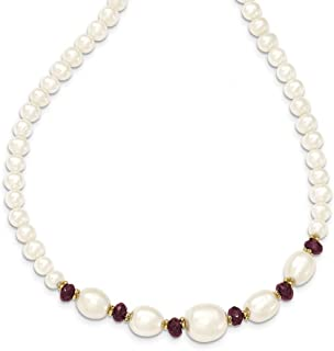14k Yellow Gold White Freshwater Cultured Pearl Faceted 4.0 Red Garnet Bead Chain Necklace Pendant Charm Fine Jewelry Gifts For Women For Her
