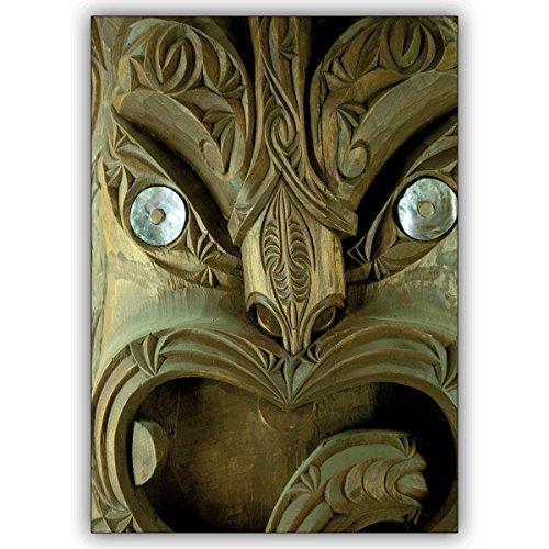 1 fotokaart: leuke fotokaart met Hawaïaans masker • edele vouwkaart met envelop binnen blanco