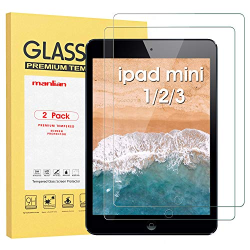 Manlian Screen Protector for Apple iPad mini 1/2/3, (2-pack) with [Hd-clear] [Anti-Scratch] [Anti-Fingerprint] [9H-Hardness] Premium Tempered Glass Screen Protector.