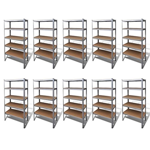 Tidyard Schwerlastregal Lagerregal Steckregal 10 Stück Heavy Duty Shelving Storage Shelves Pack of 10 Economy & Industrial Industrial Storage Industrial Shelving