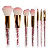 GBY Brochas de Maquillaje 7 piezas Neon Peach Set Premium Sintético Kabuki Foundation Blending Face Powder Brochas Maquillaje