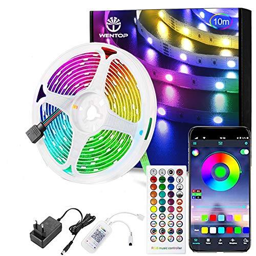 WenTop Striscia LED, Smart 10m Bluetooth Strisce LED RGB con Telecomando, App Controllato, Funzione di Temporizzazione On/Off, per Camera da letto, Cucina, Decorazioni per Feste Natale[Classe A+++]