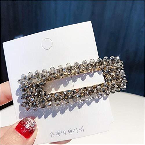 Haarspeld voor dames, bling, rechthoekig, kristallen parels, haarspeld Vierkant grijs.