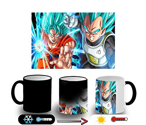 MERCHANDMANIA Taza MÁGICA Goku Vegeta SSJ God Combate Broly Magic mug