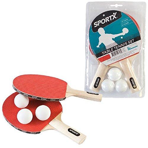 AK Sport 0715021Sportx Set di Ping-Pong con 2Racchette/3Palline Rosso