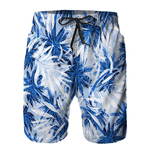 ZHIMI Herren Schnelltrocknend Badehose Beach Shorts,Nahtlose Tropische Muster Kokospalmen,Sommer Strand Badeshorts Sport Shorts XL