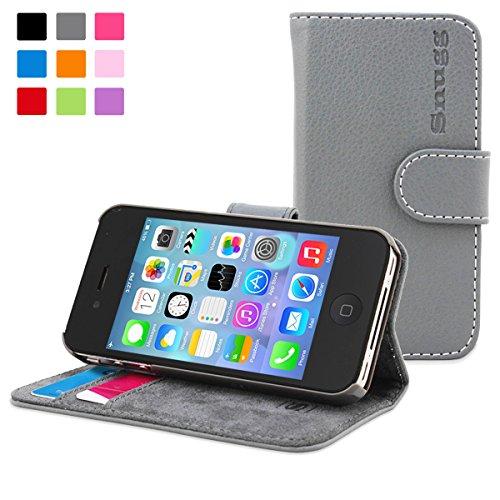 Snugg – Carcasa de cuero (PU) con tapa para iPhone 4/ 4s, color gris
