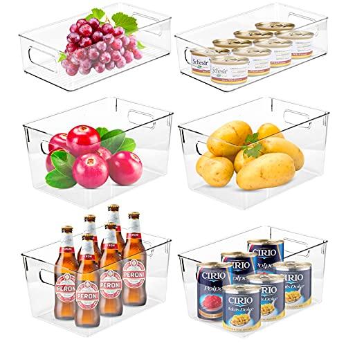 Wuudi Aufbewahrungsbox Set, 6er Set Kühlschrankbox 4 Große und 2 Kleine Kühlschrank Organizer mit Griffen aus Kunststoff für Küche oder Kühlschrank