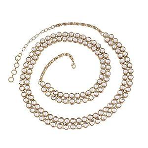 I Jewels 18k Gold Plated Ethnic Kundan Studded Kamarband/Waist Belly Chain for Women (B016)(White)
