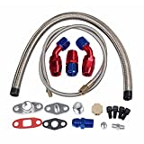 BLACKHORSE-RACING Turbo Charger Oil Drain Return Line Oil Feed Complete Kit T3 T4 T04E T60 T61 T70 Silver