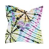LZXO - Pañuelo para mujer, diseño abstracto de flores, cuadrado, pañuelo para la cabeza, pañuelo ligero, con 10 pasadores de espiral, 60 x 60 cm