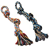 GaiusiKaisa XL Dog Rope Toys for Aggressive Chewers - Set of 2 Heavy Duty Dog Toy Rope for Large Breed Puppy- 100% Cotton Strong Rope - Medium and Large Dogs for Chewing, Teething, Tug of War