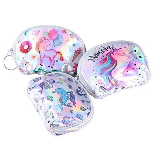 Fenical Geldbörse Einhorn Münztüte Laser Mini Meerjungfrau Geldbeutel für Baby Kinder Mädchen 3 STÜCKE