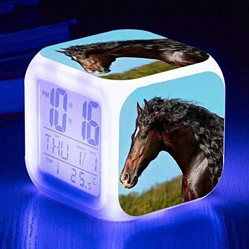 Reloj despertador Personalizar imagen de despertador Luz USB Powered 7 cambiar el color del LED que brilla Tabla de reloj for el regalo de cumpleaños multifunción Smart Touch Sensor multi de la lámpar