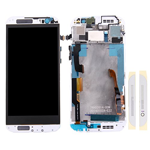 HUAAT -LCD Screen and Digitizer Full Assembly with Frame & Front Glass Lens Cover for HTC One M8 (Top+Bottom)(Black) DIY (Color : White)