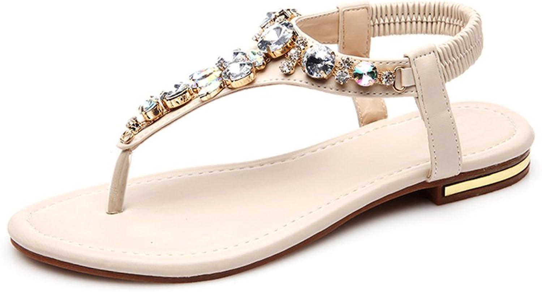 Defais Women's Jeweled Summer Thong Sandals Flat Flip Flops