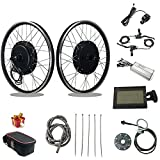 RICETOO 48V 1500W 20'/24'/26'/27.5'/28'/700C Rear Cassettle Electric Bicycle Conversion Motor Kit with Brushless Gear Hub Motor with KT-LCD3 Display. (48V 20 inch)