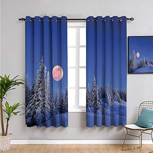 Winter Decorations Room Darkening Curtains for Bedroom, Curtains 63 inch Length Winter Night in Mountain Tops with Full Moon in Idyllic Sublime Habitat View Privacy Protection Multi W52 x L63 Inch