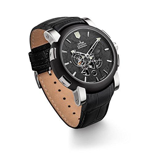Kronsegler Meteorito Automático Reloj de Acero Negro/Negro edición Limitada con Meteorito Rocas