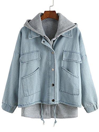 Preisvergleich Produktbild Cystyle Damen zweiteilige Denim Jacke mit Kapuze und Kordelzug (XS = Asin S,  blau)
