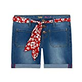 Lee Jean Shorts for Teen Girls – Girls Stretch Shorts with Scarf Belt | Girls Shorts - Shaken Blue, Size 8