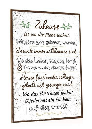GRAVURZEILE Holzschild mit Spruch - Zuhause ist wo die Liebe wohnt - Moderne Kunstdrucke auf Holz - Wand Dekoration im Vintage-Look Kunstdruck für Familie Freunde in Küche Home & Co