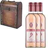 3 x Barefoot Pink Moscato Californian Rosé Wine in Antique Effect Gift Box With Handcrafted Gifts2Drink Tag