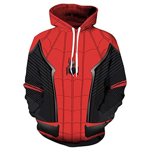 TOYSSKYR Luxuriöser Film-Kostüm, Unisex, Herren, 3D-Druck-Kapuzenpullover für Erwachsene, Kinder, Spiderman, Superheld, Cosplay, lange Ärmel, Kordelzug, Kapuze, hohe Elastizität Gr. 90, Sweatshirt