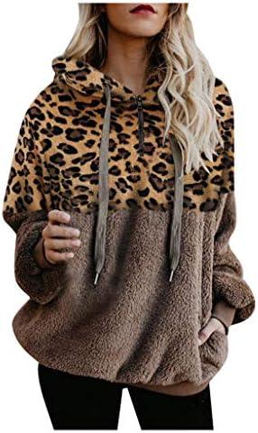 AOHITE Womens Casual Hoodie Leopard Printed Long Sleeves Sweatshirt Loose Pullover Top with Pocket