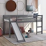 MWKL Neuestes niedriges stabiles Hochbett aus Holz, multifunktionales Design Kinderhochbett mit Rutsche für Jungen & Mädchen Schlafzimmer, Twin Size