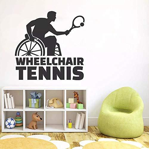 WERWN Jugador de Tenis Etiqueta de la Pared Silla Rueda Arte Deportes Tenis Decoración de la Sala de Estar