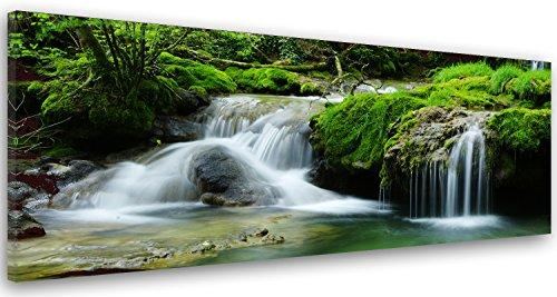 Feeby Frames Cuadro en Lienzo, Cuadro Impresión, Cuadro Decoración, Canvas de una Pieza, 50x150 cm, Cascada, Bosque, Agua, Naturaleza, Verde, Blanco