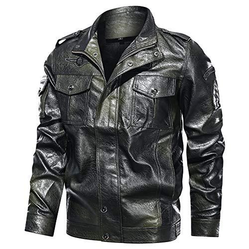 Azshara Chaqueta de Cuero para Hombre Aviador Chaqueta Chaqueta de Motocicleta Chaqueta de Ocio Otoño Primavera Al Aire Libre Chaqueta (Verde,4XL)