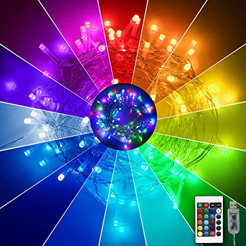 Obrecis 16 Color Changing Indoor String Lights, Colorful USB Fairy Lights Starry Lights Remote Control Lamp for Birthday Party, Home, Christmas Wedding Decor-19ft(Multiple)