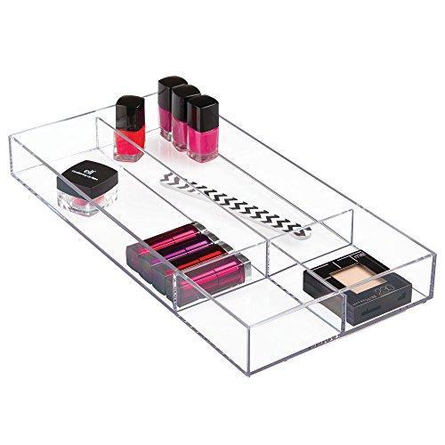 iDesign Kosmetik Organizer, große Schubladenbox für Schminke mit 4 Fächern aus Kunststoff, zur Kosmetik Aufbewahrung, durchsichtig, XXL: 20,3 x 5,1 x 40,6 cm