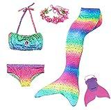 Cola de Sirena Niña 5pcs Traje de Baño Mermaid Bikini Establece Disfraz de Sirena Princesa Cosplay Conjuntos con Diadema de Flores y Monofín