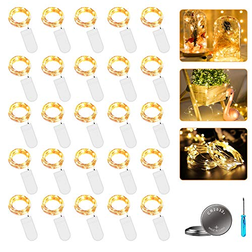 LED Lichterkette mit Batterie, 20 Stück 2 Meter 20er Micro Kupfer Lichterkette Warmweiß IP65 Wasserdicht Dekorative Lichterkette String Fairy Light Drahtlichterkette für Party Garten Hochzeit