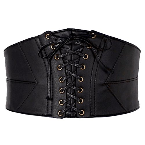 CHIC DIARY Vintage Damen Gürtel Breiter Taillengürtel Hüftgürtel Bindegürtel Lolita Korsett Elastisch Gebündelt aus Kunstleder