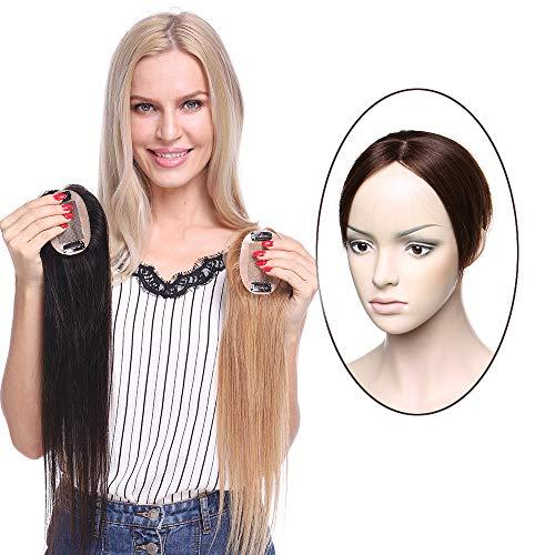 Hair Topper Capelli Veri Clip Protesi Donna Extension Remy Human Hair Indiani Silk Lace per Top Testa Super Realistico Toupet 20g/Fascia Unica Toupee 6cm*9cm (25cm, 4# Marrone Cioccolato)