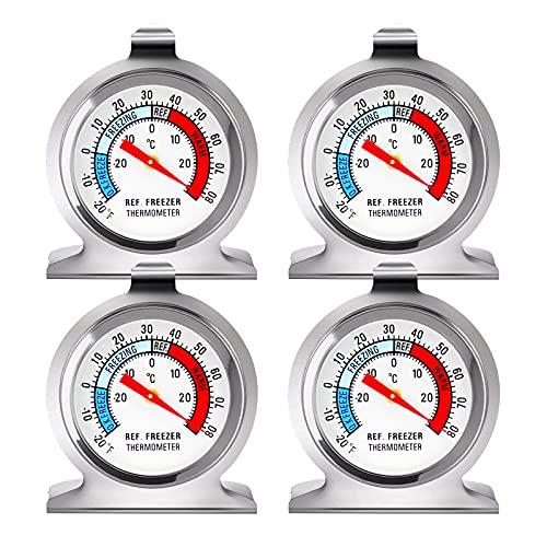 Termómetro para frigorífico -30 ~ 30 ° C / -20 ~ 80 ° F, termómetro clásico para frigorífico, esfera grande con indicador rojo, termómetro para congelador, refrigerador, enfriador (4 piezas)