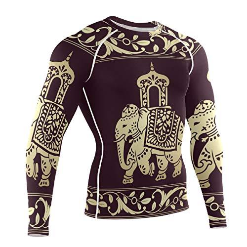 Franzibla Hippie Indian Elephant Mandala Mens Compression Sports Long Sleeve Workout Gym T Shirt