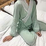 ZWLXY Damas Pijamas Set 2020 Otoño algodón Puro cómodo Encaje Cardigan Inicio Pijamas,Verde,L
