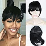 FOND Brazilian Human Hair Clip on Bangs Natural Fringe Clip in Bangs Short Straight Hair Extension for Women 6-8 inch …